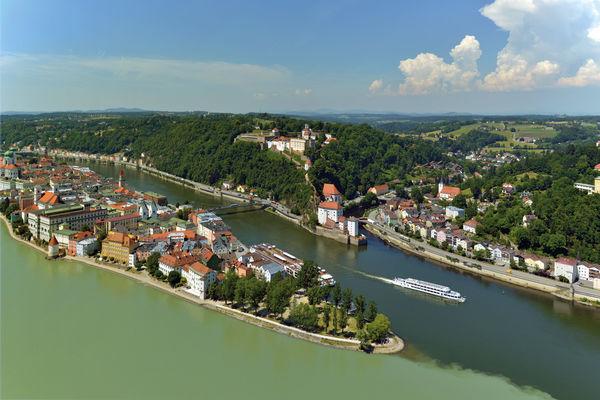 Das Dreiflüsseeck in Passau mit Donau, Inn und Ilz
