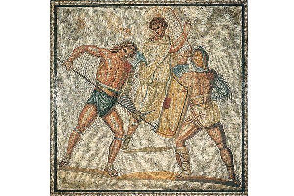 Römische Villa Nennig, Mosaikfußboden, Detail Kampf der Gladiatoren