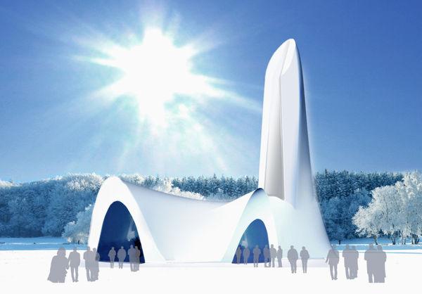 Entwurf der Schneekirche von Mitterfirmiansreut im Jahre 2011