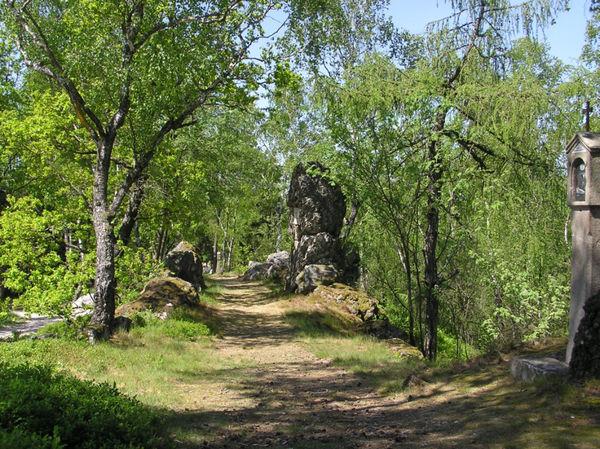 Kreuzweg im Naturschutzgebiet Moosbacher Pfahl im Bayerischen Wald