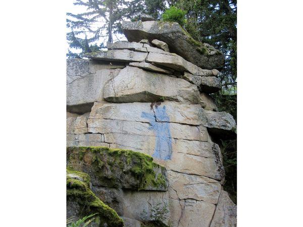 Ein gemalter Teufel zierte die Felsengruppe Teufelsmühle bei Rattenberg