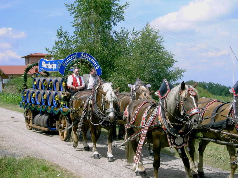 Festlich geschmückter Brauereiwagen beim Rattenberger Heimatfest
