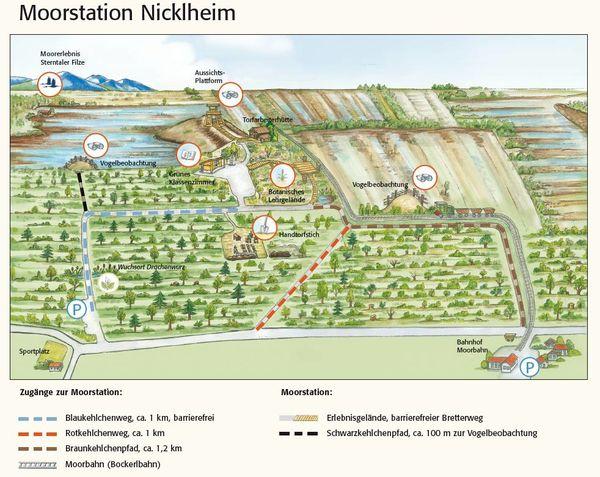 Wegekarte der Moorstation Nicklheim.
