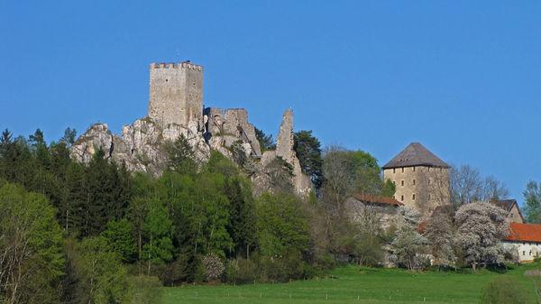Die Burgruine Weißenstein auf dem Quarzfelsen des Pfahls bei Regen