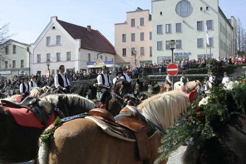 Pferde weit und breit auf dem Stadtplatz beim Regener Osterritt