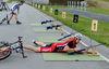 Liegend Schießen beim Mountainbike-Biathlon im Hohenzollern-Skistadion