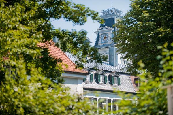 Ideal für die Radlerpause: Der Biergarten der Schlossbrauerei in Au i.d. Hallertau