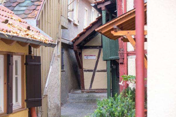 Spreuerhofstrasse in Reutlingen, die Engste Gasse der Welt