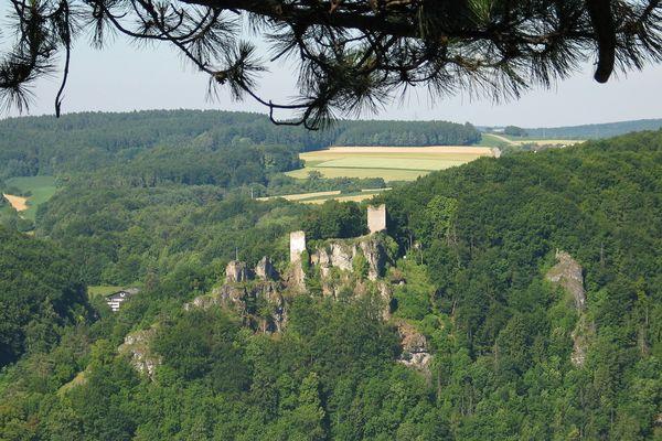 Blick zur Burgruine Tachenstein in Riedenburg