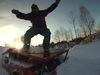 Winterspaß in der Dämmerung im Funpark beim Skilift Reichenberg in Riedlhütte