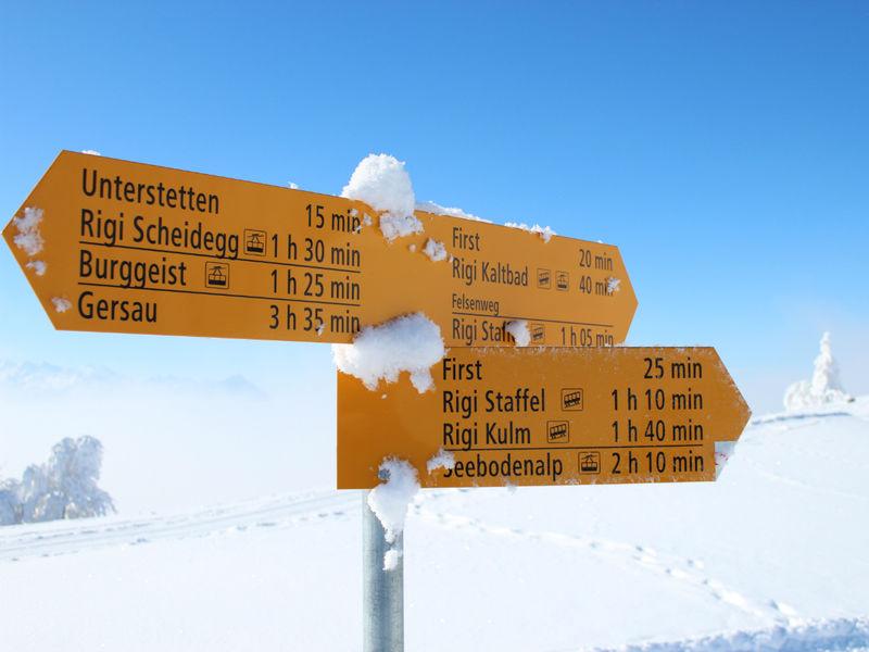 Winter hiking panoramic trail