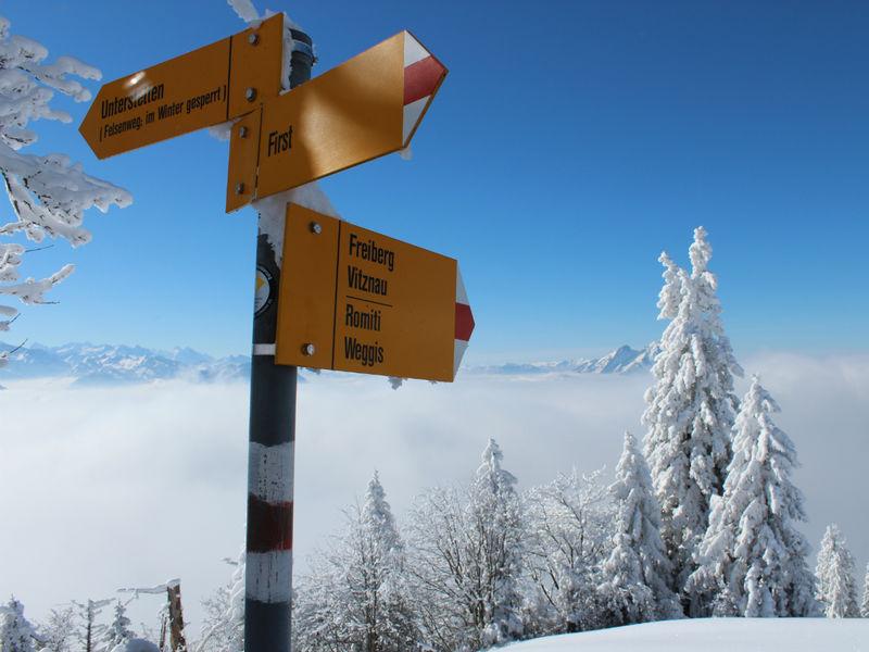Winterwanderweg Rigi First Spazierweg
