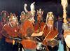 Eine Trommlergruppe sorgt beim großen Rauhnachtstreffen in Rinchnach für mystische Stimmung