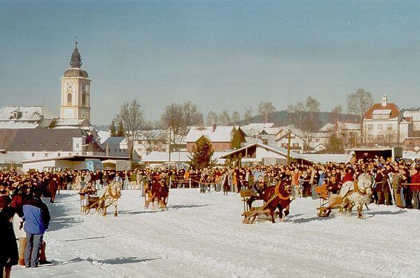 Zuschauermassen beim Pferdeschlittenrennen im Klosterort Rinchnach
