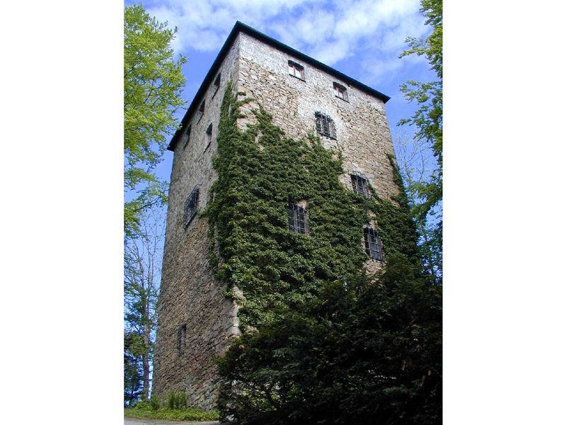 Wehrturm der Burg Kaltenstein bei Röhrnbach im Bayerischen Wald