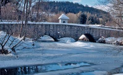 Winter an der Steinernen Brücke bei Röhrnbach im Bayerischen Wald