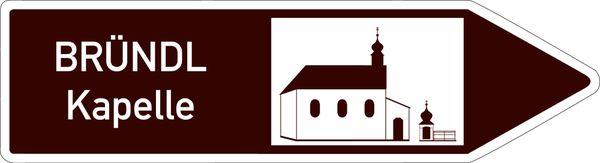 Wegweiser zum Wallfahrtskirchlein Maria Bründl bei Saldenburg