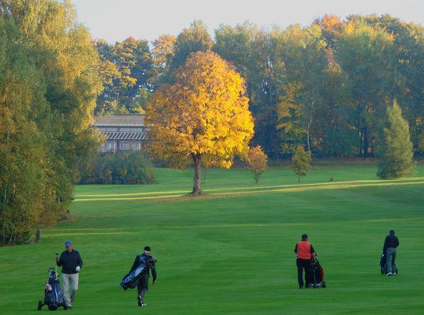Blick auf den Golfplatz auf der Rusel im Herbst