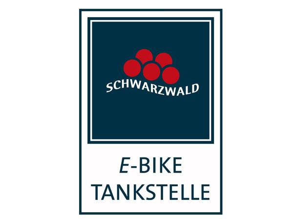 """Logo mit Bollenhut und Schriftzug """"E-Bike Tankstelle"""""""
