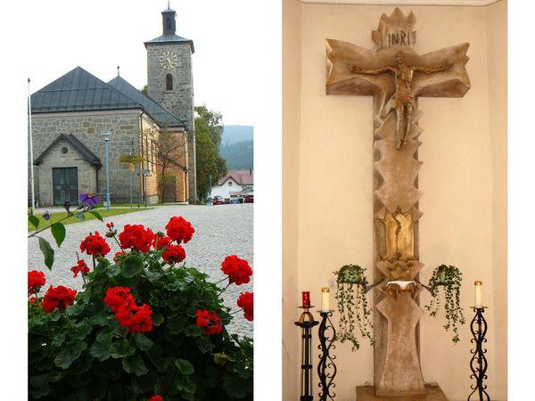 Blumen vor (links) und Steinkreuz (rechts) in der Pfarrkirche in Schöfweg
