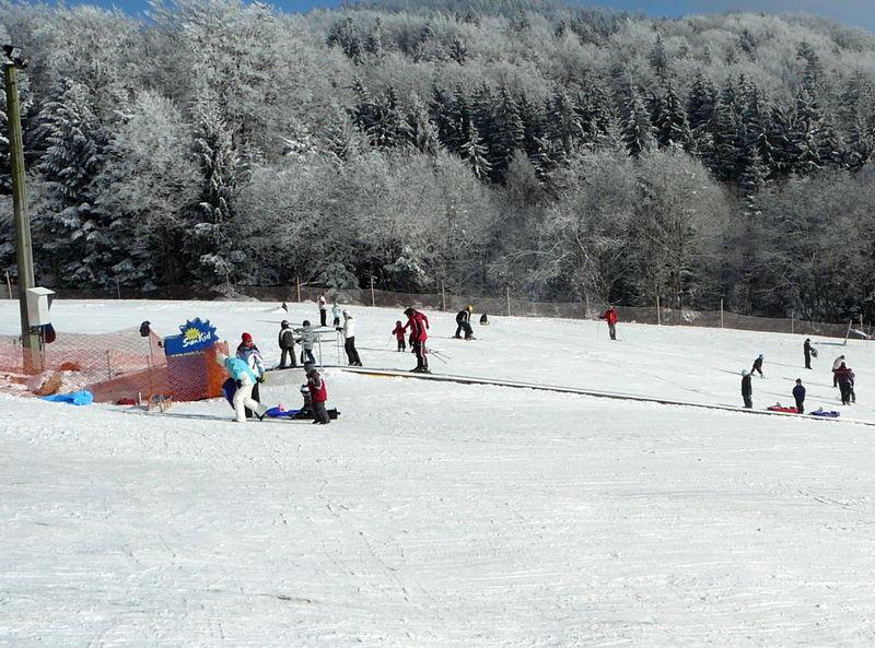 Förderband bei der Rodelbahn am Steinberg-Skilift bei Schöfweg im Bayerischen Wald