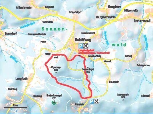 Streckenverlauf der Sonnenwald-Loipe bei Schöfweg im Langlaufgebiet Brotjacklriegel-Sonnenwald