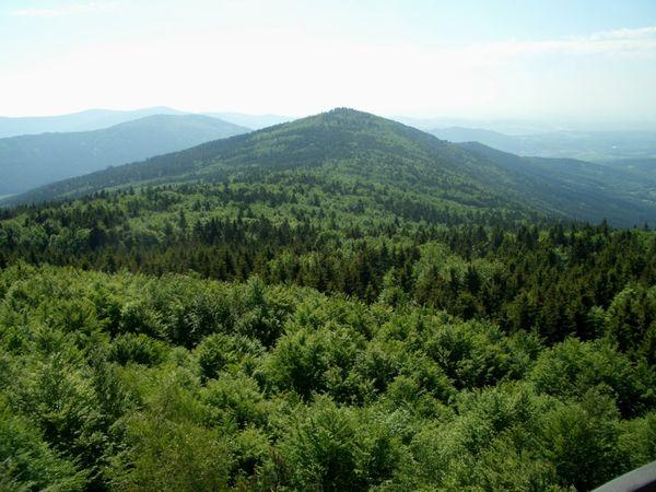 Prächtige Aussicht vom Hirschenstein über die Berggipfel im Bayerischer Wald