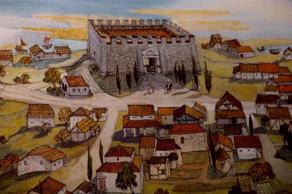 Seebruck zu römischen Zeiten: An der Stelle des Kastells steht heute die Kirche.