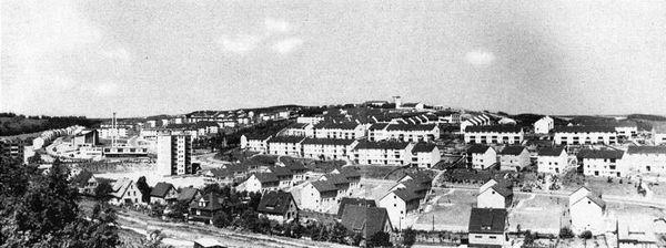 Gesamtüberblick mit südöstlicher Blickrichtung um 1960