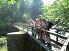 Wanderer auf einer Brücke über die Ilz bei einer Tour mit WaldZeit