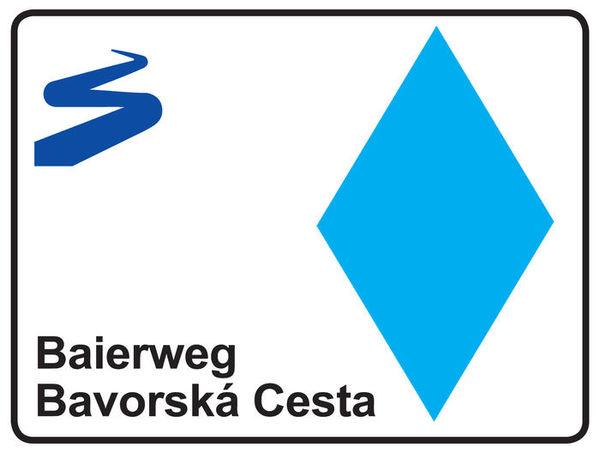 Die Markierung des Fernwanderweges Baierweg