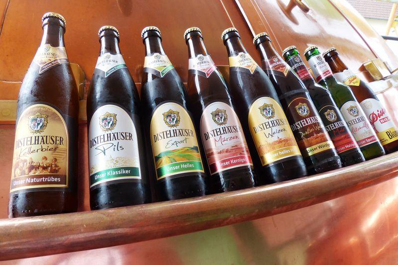 Biersortiment der Distelhäuser Brauerei