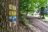 Wanderzeichen an der Wallfahrtskapelle Schönbuchen im Oberpfälzer Wald.