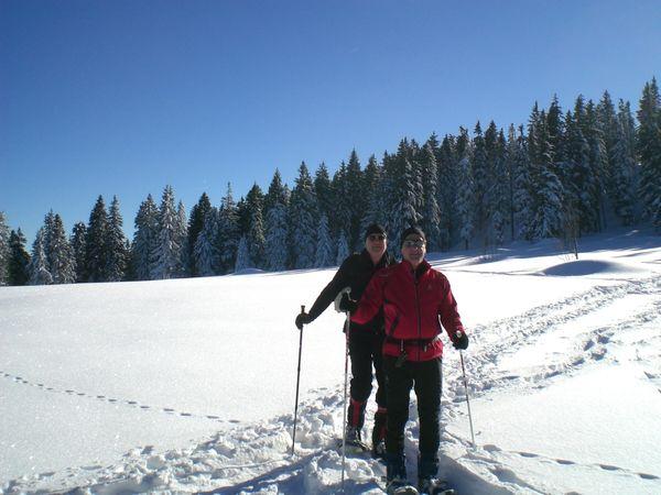 Wintererlebnis beim Schneeschuhwandern bei Thurmansbang im Bayerischen Wald