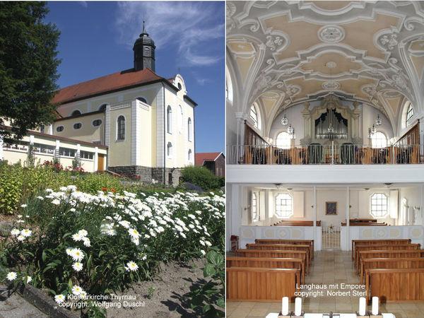 Klosterkirche (links) und Innenraum der Kirche (rechts) in der Abtei ST. JOSEF in Thyrnau