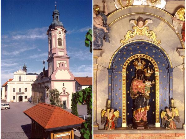 Die Lorettokapelle (links) mit der Schwarzen Madonna (rechts) am Lorettoplatz in Thyrnau