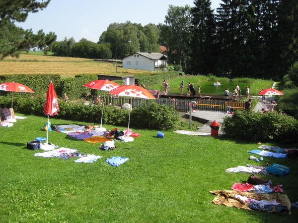 Entspannung auf der Liegewiese im Naturwaldbad Tiefenbach