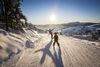 Vater und Sohn beim Wintersport