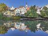 Tübinger Neckarfront mit Stocherkähnen