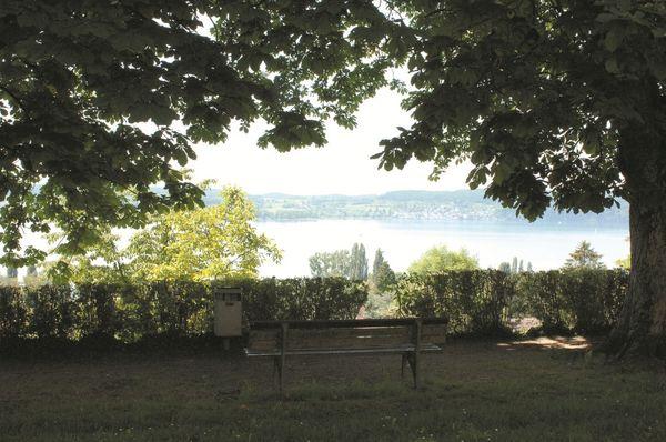 Blick vom Schloss Rauenstein in Überlingen auf den Bodensee