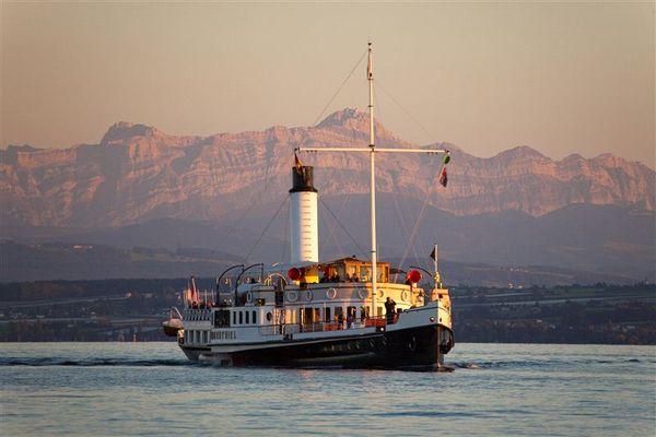 Dampfschiff Hohentwiel vor Alpenkulisse