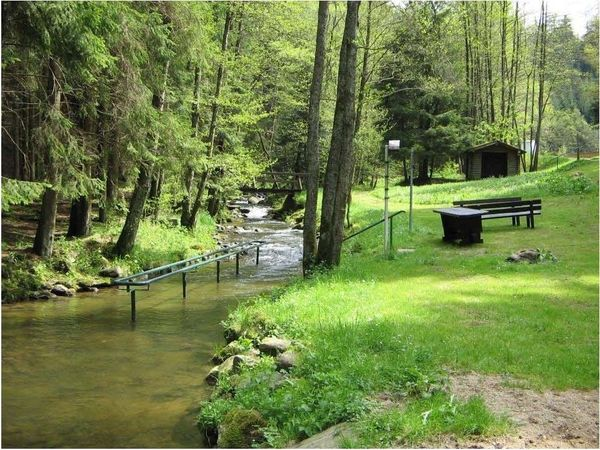 Wassertretbecken Riedbachtal in der Nähe des Freibades der Stadt Viechtach