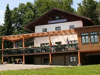 Blick auf den Landgasthof Waldcafe bei Waldmünchen