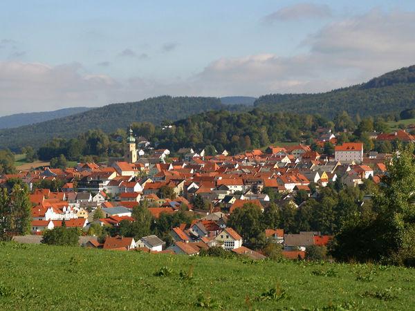 Blick auf den Luftkurort Waldmünchen im Naturpark Oberer Bayerischer Wald