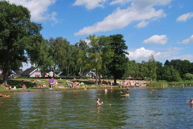 Scharmützelsee, Strand am Ferienpark in Wendisch Rietz