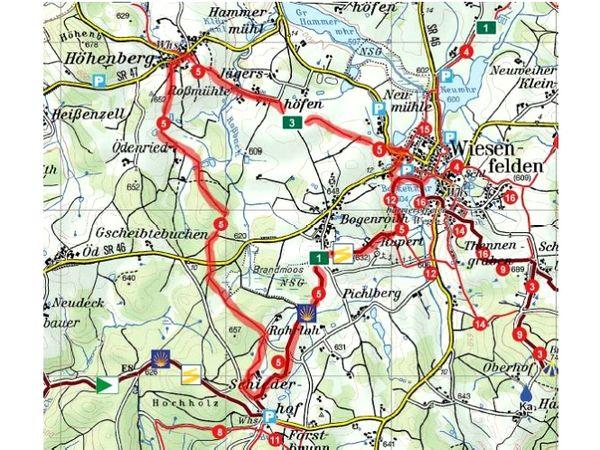Wanderstrecke Rund ums Brandmoos bei Wiesenfelden im Vorderen Bayerischen Wald
