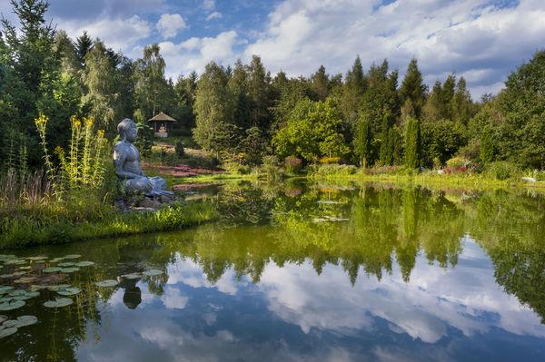 Die Parkanlagen rund um den Nepal-Himalaya-Pavillon in Wiesent