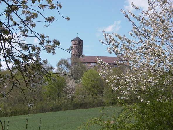 Blick auf die Jugendburg Ludwigstein, Wappenburg des Werra-Meißner-Kreises, im Frühjahr