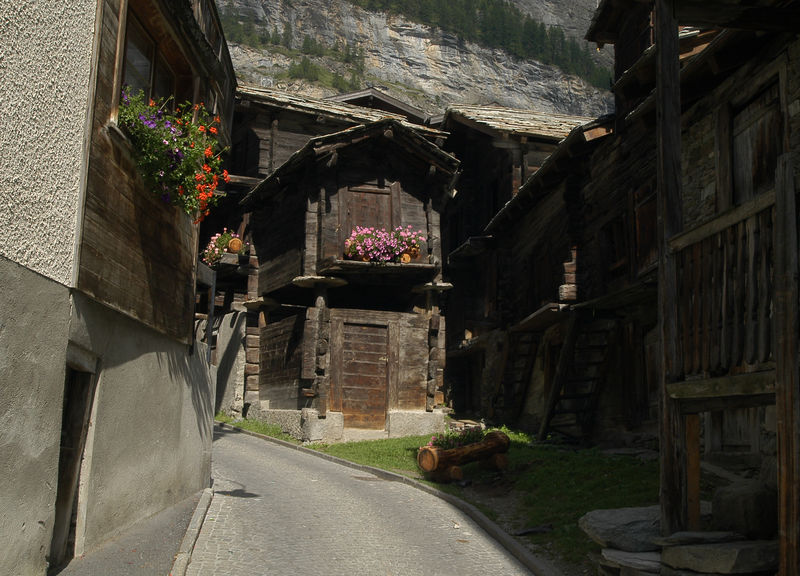 Zermatt's Old Village: stables and barns balanced on stilts and slabs of rock.