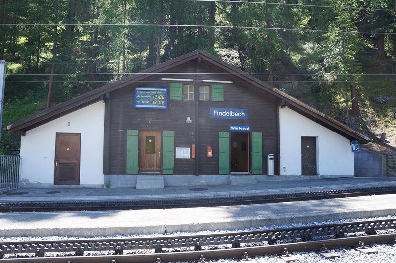 La gare Findelbach de Gornergrat Bahn est le premier arrêt après Zermatt.